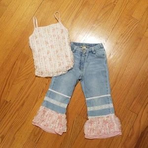 Little Mass Jean and Pink Sparkle Tank Top Set 4T